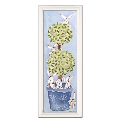 Bunny Topiary Giclee Framed Art Color: Blue image