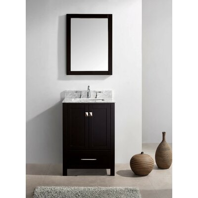 Stoneham 24.8 Single Bathroom Vanity Set with Carrara White Top and Mirror Base Finish: White, Sink Shape: Round, Faucet Finish: Polished Chrome