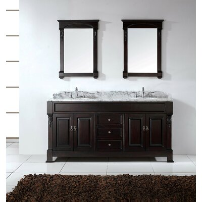 Huntshire 71.25 Double Bathroom Vanity Set with White Marble Top and Mirror Base Finish: White, Sink Shape: Round, Faucet Finish: No Faucet