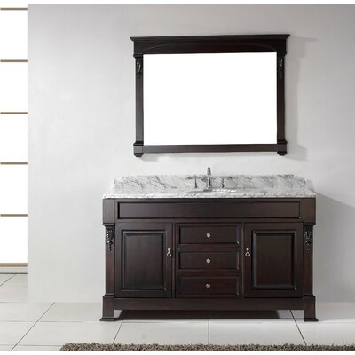 Huntshire 60 Single Bathroom Vanity Set with White Marble Top and Mirror Base Finish: Dark Walnut, Sink Shape: Round, Faucet Finish: No Faucet