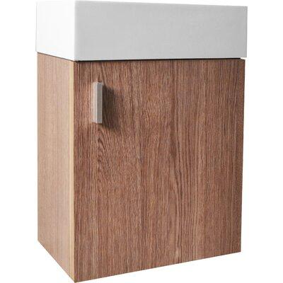 Carino 15.9 Single Bathroom Vanity Base Base Finish: Light Oak, Faucet Finish: Polished Chrome