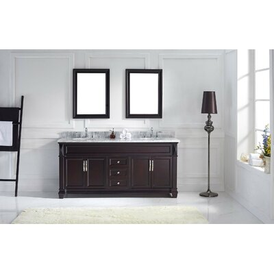 Victoria 72 Double Bathroom Vanity Set with White Marble Top and Mirror Base Finish: Espresso, Sink Shape: Round, Faucet Finish: Polished Chrome