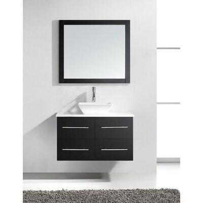 Decastro 35 Single Bathroom Vanity Set with White Stone Top and Mirror Base Finish: Espresso, Faucet Finish: Polished Chrome