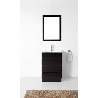 Bruno 24 Single Contemporary Bathroom Vanity Set with Ceramic Top and Mirror Base Finish: Espresso, Faucet Finish: Polished Chrome