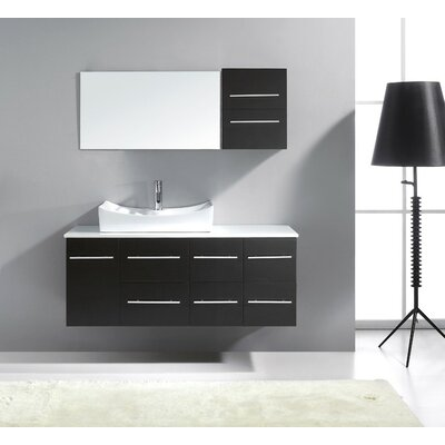 Ultra Modern 53 Single Bathroom Vanity Set with White Stone Top and Mirror Base Finish: Espresso, Faucet Finish: Polished Chrome