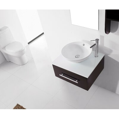 Ultra Modern Series 24 Single Bathroom Vanity Set with White Stone Top and Mirror Faucet Finish: Brushed Nickel