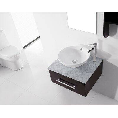 Ultra Modern Series 24 Single Bathroom Vanity Set with White Marble Top and Mirror Faucet Finish: Brushed Nickel