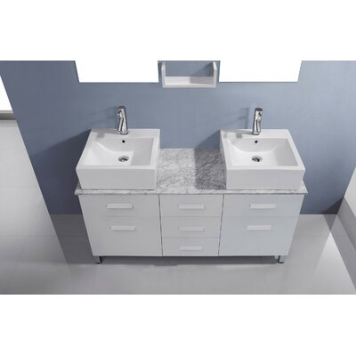 Ultra Modern Series 56 Double Bathroom Vanity Set with White Marble Top and Mirror Base Finish: White