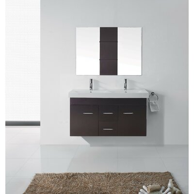 Opal 47 Double Bathroom Vanity Set with Ceramic Top and Mirror Base Finish: Espresso, Faucet Finish: Brushed Nickel