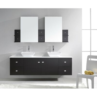 Clarissa 72 Double Bathroom Vanity Set with White Stone Top and Mirror Base Finish: Espresso, Faucet Finish: Polished Chrome