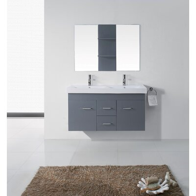 Opal 47 Double Bathroom Vanity Set with Ceramic Top and Mirror Base Finish: Gray, Faucet Finish: Polished Chrome