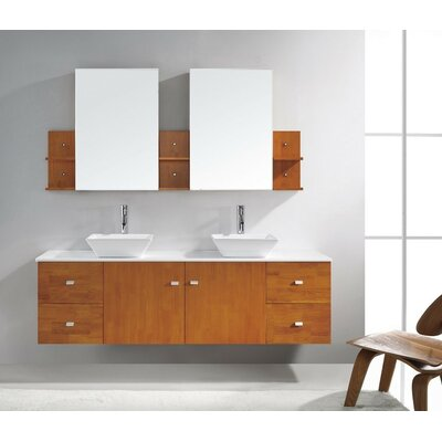 Clarissa 72 Double Bathroom Vanity Set with White Stone Top and Mirror Base Finish: Honey Oak, Faucet Finish: Brushed Nickel