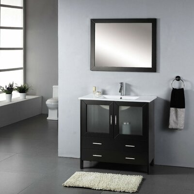 Felice 35 Single Bathroom Vanity Set with Ceramic Top and Mirror Faucet Finish: Brushed Nickel
