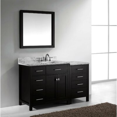 Caroline Parkway 57 Single Bathroom Vanity Set with Carrara White Top and Mirror Base Finish: Espresso, Sink Shape: Square, Faucet Finish: Polished Chrome