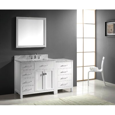 Caroline Parkway 57 Single Bathroom Vanity Set with Carrara White Top and Mirror Base Finish: White, Sink Shape: Square, Faucet Finish: Brushed Nickel