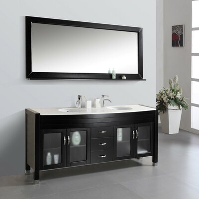 Ultra Modern Series 71 Double Bathroom Vanity Set with Artificial Ivory Top and Mirror