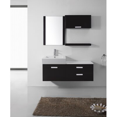 Ultra Modern Series 52 Single Bathroom Vanity Set with White Stone Top and Mirror