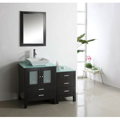 Brentford Series 45 Single Bathroom Vanity Set with Tempered Glass Top and Mirror Faucet Finish: Brushed Nickel