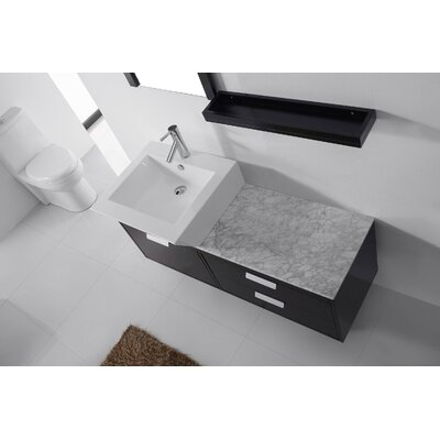 Ultra Modern Series 52 Single Bathroom Vanity Set with White Marble Top and Mirror