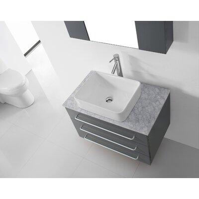 Ultra Modern Series 33 Single Bathroom Vanity Set with White Marble Top and Mirror Base Finish: Gray, Faucet Finish: Polished Chrome