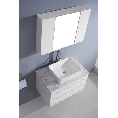 Ultra Modern Series 33 Single Bathroom Vanity Set with White Marble Top and Mirror Base Finish: White, Faucet Finish: Polished Chrome