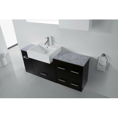 Ultra Modern Series 60 Single Bathroom Vanity Set with White Marble Top and Mirror Base Finish: Espresso