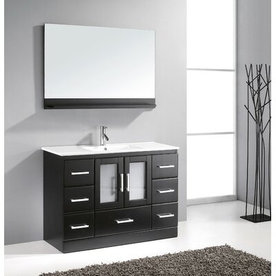 Dunellen 47.5 Single Bathroom Vanity Set with White Top and Mirror Base Finish: Espresso, Faucet Finish: Polished Chrome