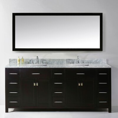Stoughton 78.8 Double Bathroom Vanity Set with Carrara White Top and Mirror Base Finish: White, Sink Shape: Round, Faucet Finish: Polished Chrome