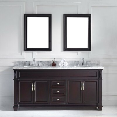 Victoria 72 Double Bathroom Vanity Set with White Marble Top and Mirror Base Finish: Espresso, Sink Shape: Round, Faucet Finish: Brushed Nickel