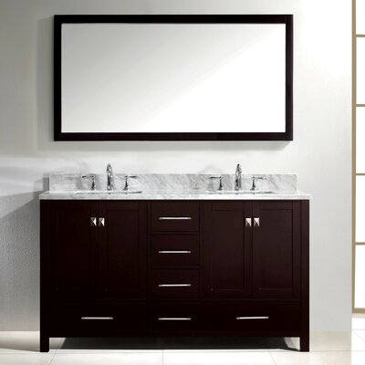 Stoneham 60 Double Bathroom Vanity Set with Carrara White Top and Mirror Base Finish: White, Faucet Finish: Brushed Nickel, Sink Shape: Square