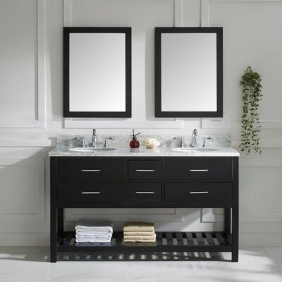 Rishaan 61 Double Bathroom Vanity Set with White Marble Top and Mirror Base Finish: Gray, Sink Shape: Square, Faucet Finish: No Faucet
