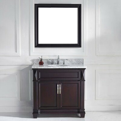Victoria 37 Single Bathroom Vanity Set with White Marble Top and Mirror Base Finish: White, Sink Shape: Round, Faucet Finish: No Faucet