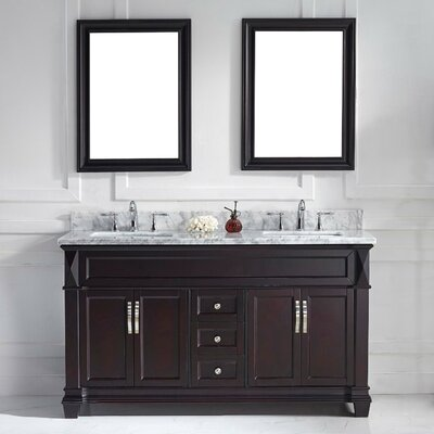 Victoria 61 Double Bathroom Vanity Set with White Marble Top and Mirror Base Finish: White, Sink Shape: Round, Faucet Finish: No Faucet
