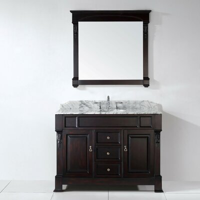 Huntshire 48 Single Bathroom Vanity Set with Mirror Base Finish White