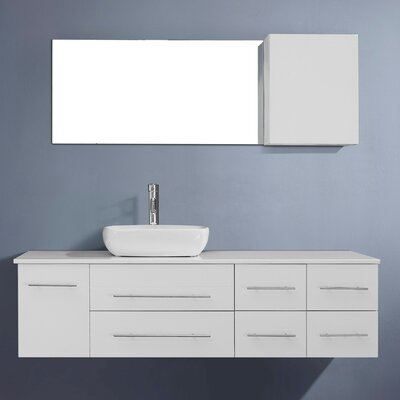 Justine 59 Single Bathroom Vanity Set with White Stone Top and Mirror Base Finish: White, Faucet Finish: Brushed Nickel