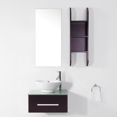 Primo 24 Single Bathroom Vanity Set with Tempered Glass Top and Mirror Faucet Finish: Polished Chrome