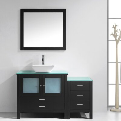 Brentford 54 Single Bathroom Vanity Set with Tempered Glass Top and Mirror Faucet Finish: Brushed Nickel