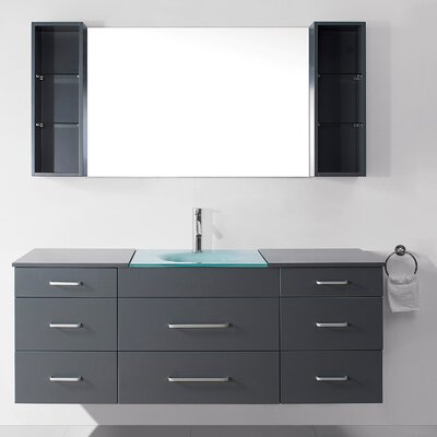 Colombo 63 Single Bathroom Vanity Set with Tempered Glass Top and Mirror Base Finish: Gray, Faucet Finish: Brushed Nickel