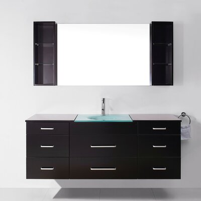 Colombo 63 Single Bathroom Vanity Set with Tempered Glass Top and Mirror Base Finish: Espresso, Faucet Finish: No Faucet