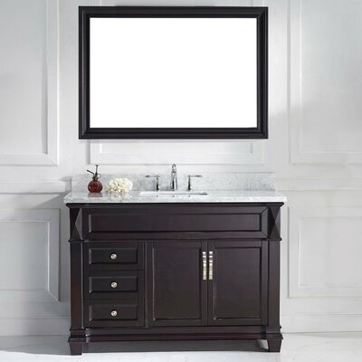 Victoria 49 Single Bathroom Vanity Set with White Marble Top and Mirror Base Finish: White, Sink Shape: Round, Faucet Finish: No Faucet