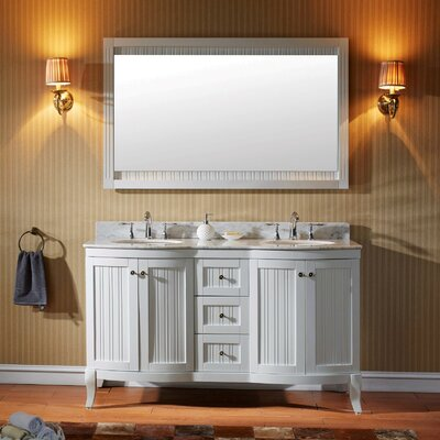 Khaleesi 60 Double Bathroom Vanity Set with White Marble Top and Mirror Base Finish: White, Faucet Finish: Polished Chrome