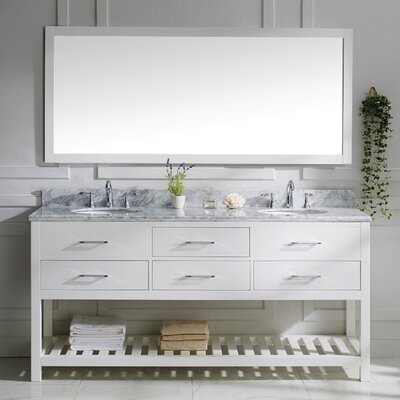 Rishaan 73 Double Bathroom Vanity Set with White Marble Top and Mirror Base Finish: White, Sink Shape: Round, Faucet Finish: No Faucet