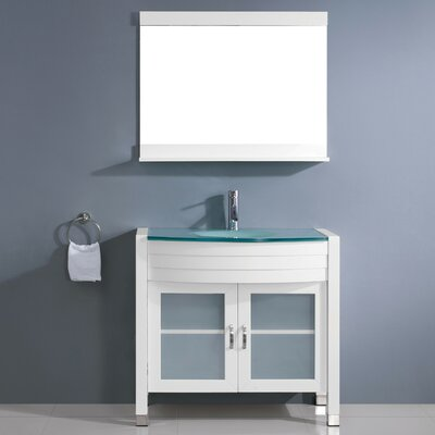 Vina 35 Single Bathroom Vanity Set with Tempered Glass Top and Mirror Base Finish: Gray, Faucet Finish: Brushed Nickel