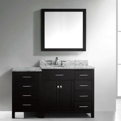 Stoughton 57 Single Bathroom Vanity Set with Carrara White Top and Mirror Base Finish: Gray, Sink Shape: Round, Faucet Finish: No Faucet