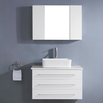 Ultra Modern Series 33 Single Bathroom Vanity Set with White Stone Top and Mirror Base Finish: White, Faucet Finish: Brushed Nickel