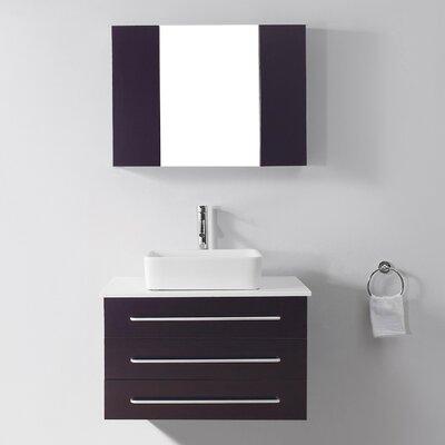 Canadice 36 Single Bathroom Vanity Set with White Stone Top and Mirror Base Finish: Espresso, Faucet Finish: Polished Chrome