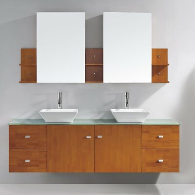 Clarissa 72 Double Bathroom Vanity Set with Tempered Glass Top and Mirror Base Finish: Honey Oak, Faucet Finish: Polished Chrome