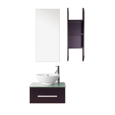 Primo 24 Single Bathroom Vanity Set with Tempered Glass Top and Mirror Faucet Finish: Brushed Nickel