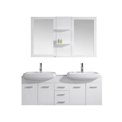 Ultra Modern Series 59 Double Bathroom Vanity Set with White Stone Top and Mirror Base Finish: White, Faucet Finish: Polished Chrome