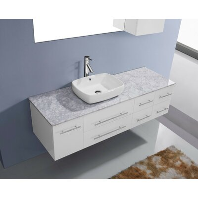 Ultra Modern Series 59 Single Bathroom Vanity Set with White Marble Top and Mirror